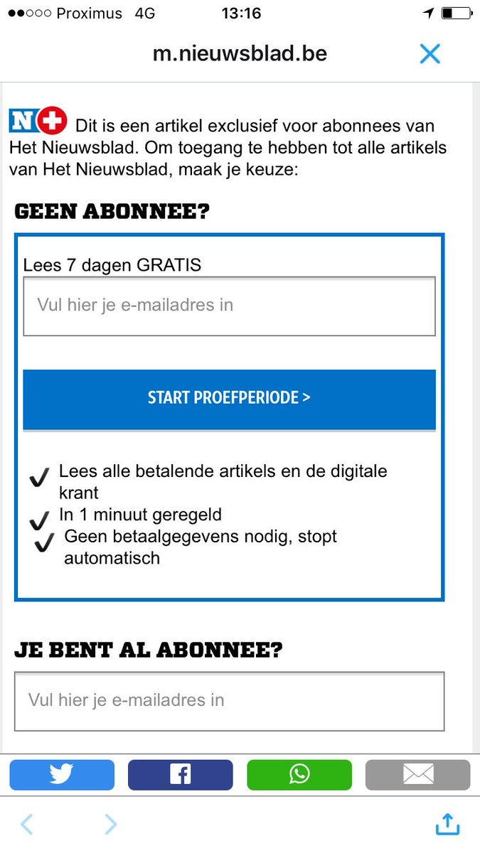 Hey @Nieuwsblad_be, ik wil geen abo! Ik wil gewoon betalen om dit artikel te lezen. Hoe regelen we dat verder? https://t.co/od6jWIEJI8