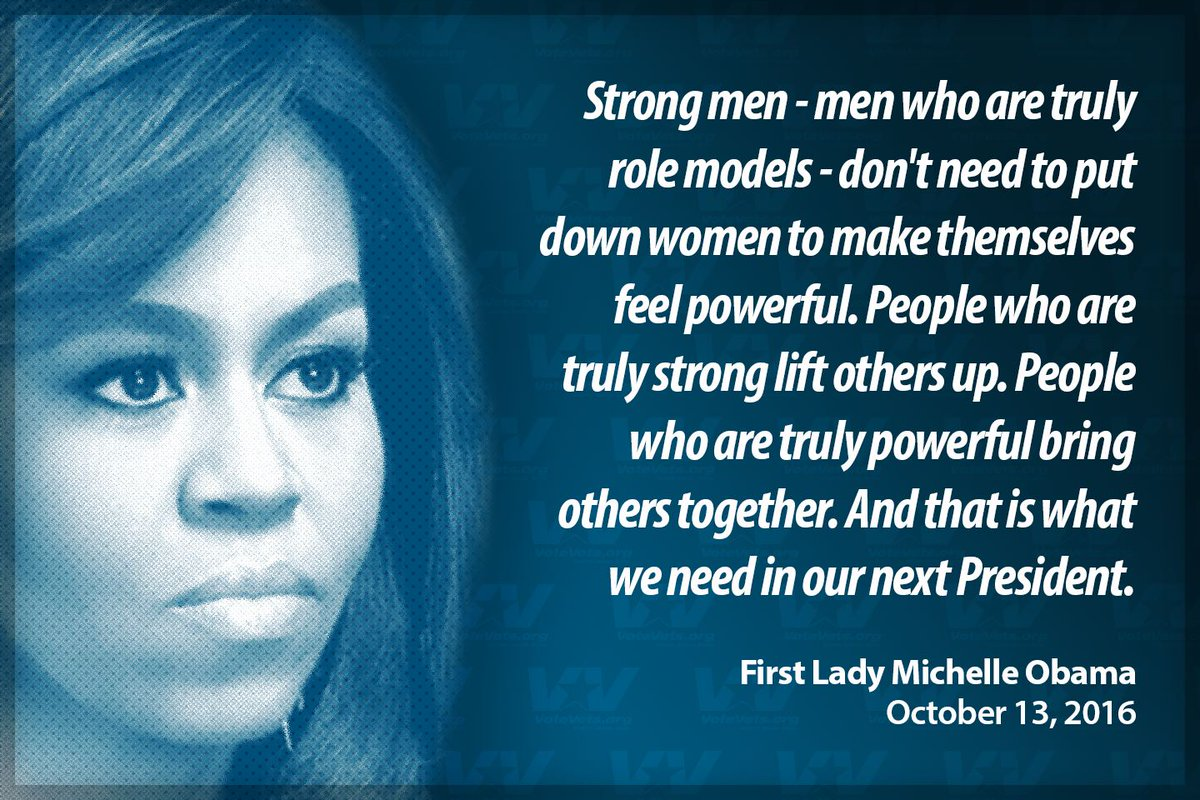 Strong men … don't need to put down women to make themselves feel powerful. -Michelle Obama #FLOTUS https://t.co/xWRMZz0kul
