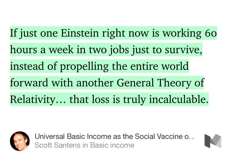 """So fascinating… """"Universal Basic Income as Social Vaccine of 21st Century""""—@scottsantens https://t.co/IuF7YXYKf8 https://t.co/A6eCAiRDMC"""