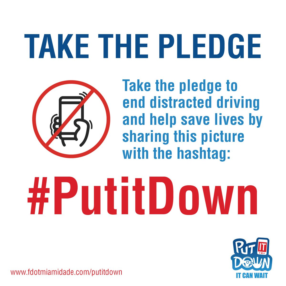 Join us in taking the pledge to #PutitDown. Save a life today, don't drive distracted. #FocusonDrivingFL https://t.co/5bG0Kd0uas