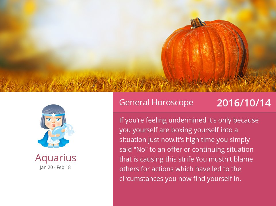 Oct 14, 2016: Daily Horoscope => See more: https://t.co/mFGmWTNzgG Accurate? Like = Yes #Aquarius #Horoscope https://t.co/2sLKbGl5lo