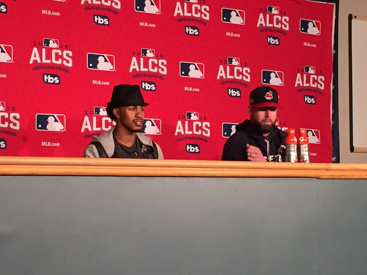 """Francisco Lindor at the podium, on his 'BelieveLand' cleats: """"I believe in my team and I believe in my city"""" https://t.co/UzHAE9jHFN"""