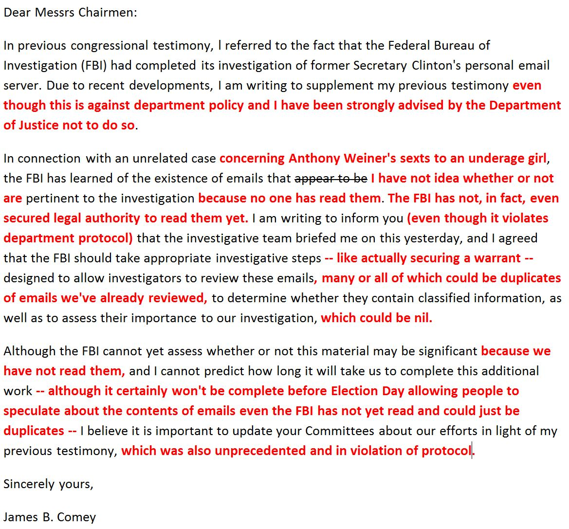 I fixed Comey's letter