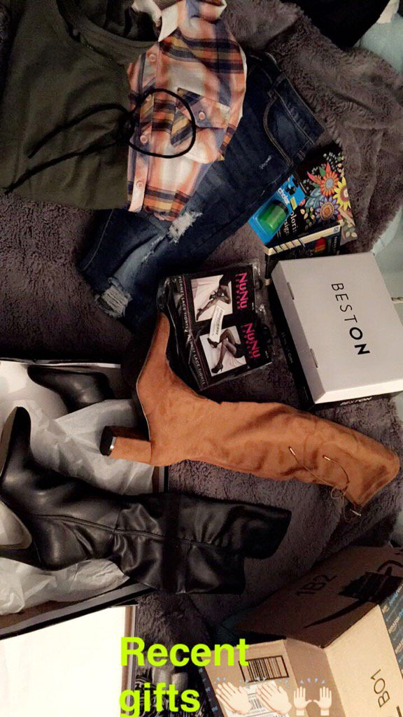 Recent gifts😍 flannel. Ripped jeans. Over knee boots. 6 pk stockings. Chocker. Coloring stuff. Green