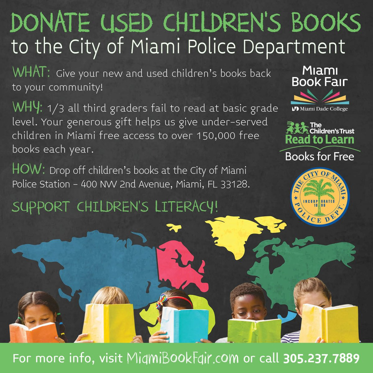 Donate your used children's books to the @MiamiPD #ReadtoLearn donation drive! https://t.co/9RaLKsE9E1