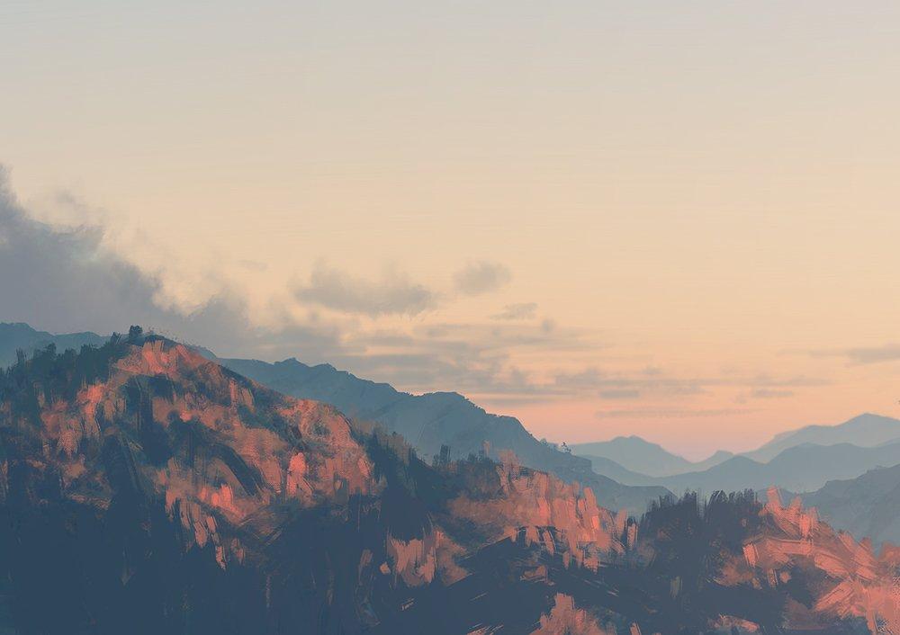 空気遠近法を勉強しはじめのとき「遠くのものは青っぽくなる(大気の色)」って記述を見るたびに「夕焼けの時はどうなんだよ」って思ってたけど、フレアとかない限り夕焼けでも基本的に青くなるよって絵。変に茶色い山をよく見かけるので参考までに。