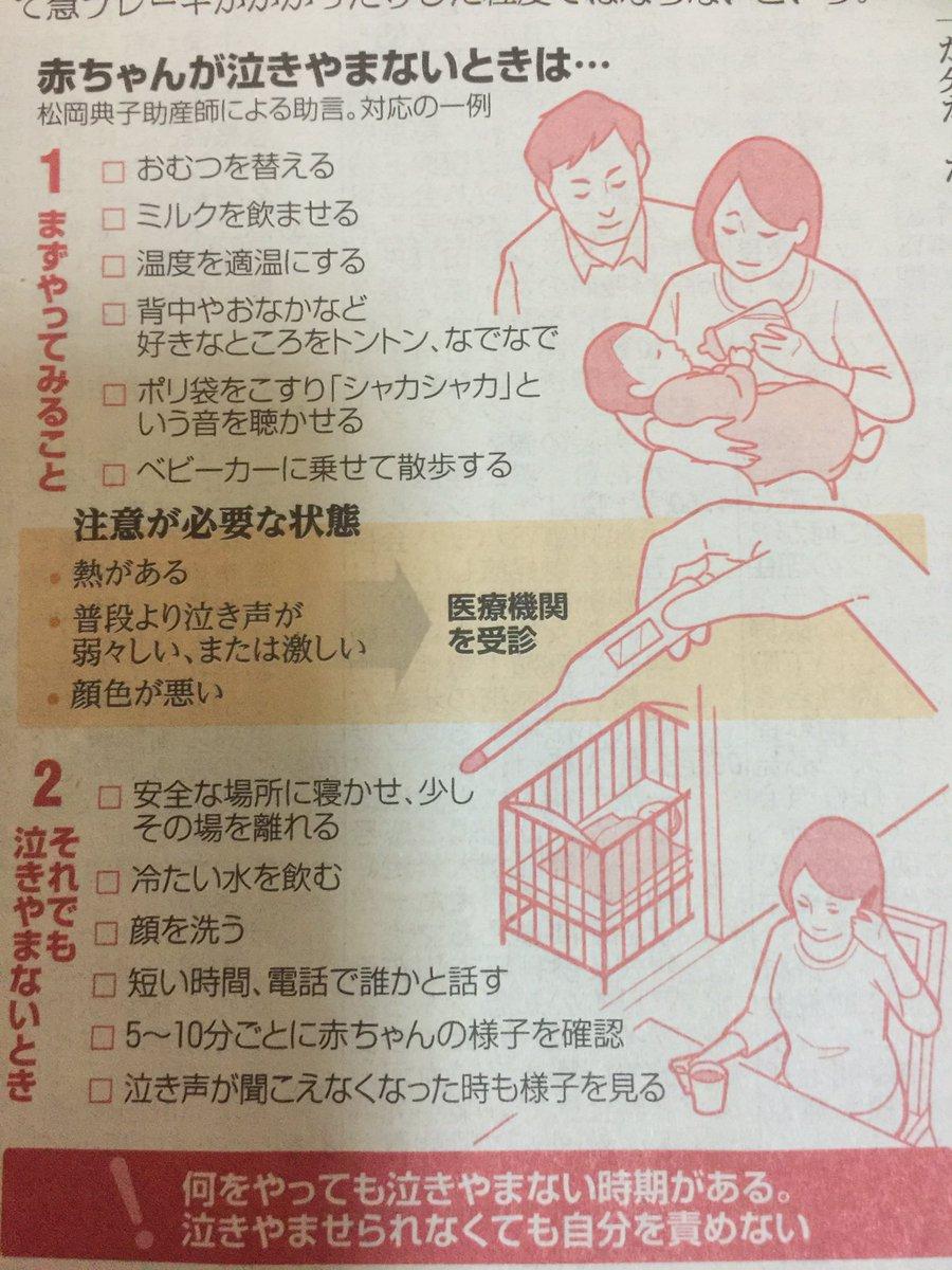 朝日新聞の特集「小さな命 奪われる未来」に載っていた赤ちゃんが泣きやまないときの対応がとても分かりやすい。「泣きやませられなくても自分を責めない」というのは、本当に大切ですね。泣き声に慣れていない父親が赤ちゃんを揺さぶる危険性が指摘されていました。子どもと触れ合う時間が必要です。