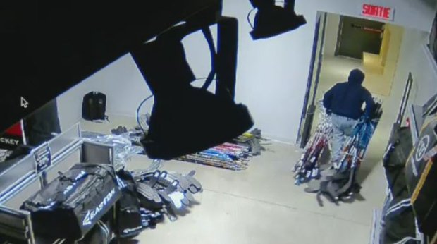 Thief rappels into sports store, gets away with $150K in hockey sticks