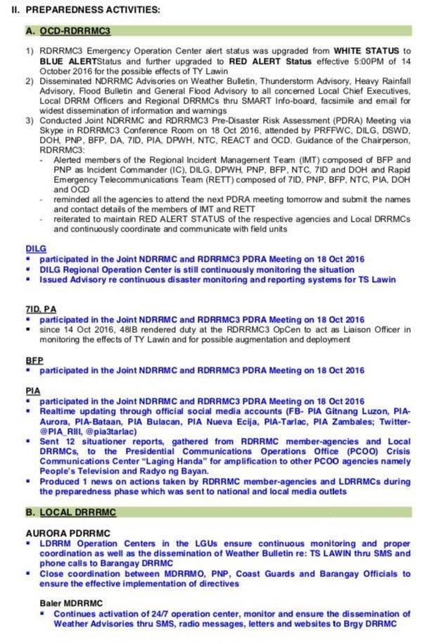 Look: situation report no. 2 regarding the preparedness of rdrrmc ...