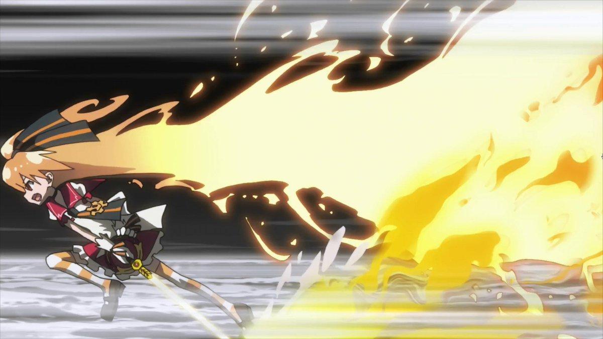 同じ炎髪でもシャナの炎髪は炎の様に真っ赤に髪が煌きつつもその影響は周囲に火の粉が散る程度で髪は髪の形を保ってるけど、幻影