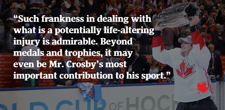 Editorial: How Sidney Crosby is making the @NHL wiser about concussions From @GlobeDebate