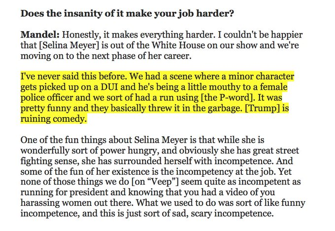 !! Veep had to edit out a joke because it came too close to home with Trump and the P-word: https://t.co/ha7Skwuywr https://t.co/aBscTwG10y