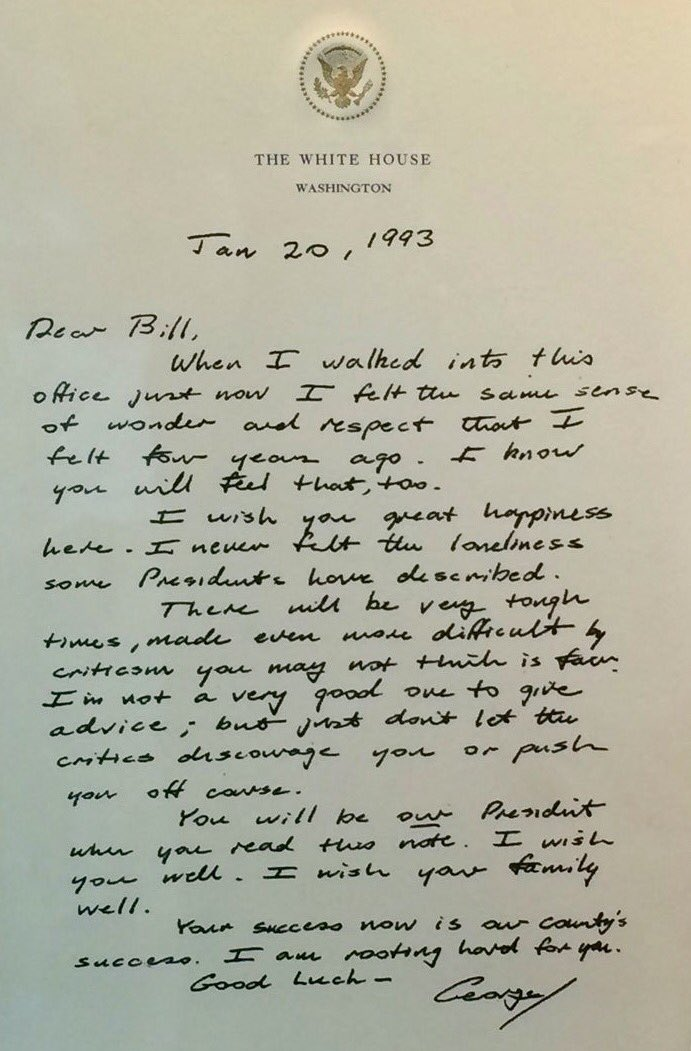 A perfect night to re-read this letter from President George H. W. Bush to President Bill Clinton. https://t.co/9LYI20KX7A