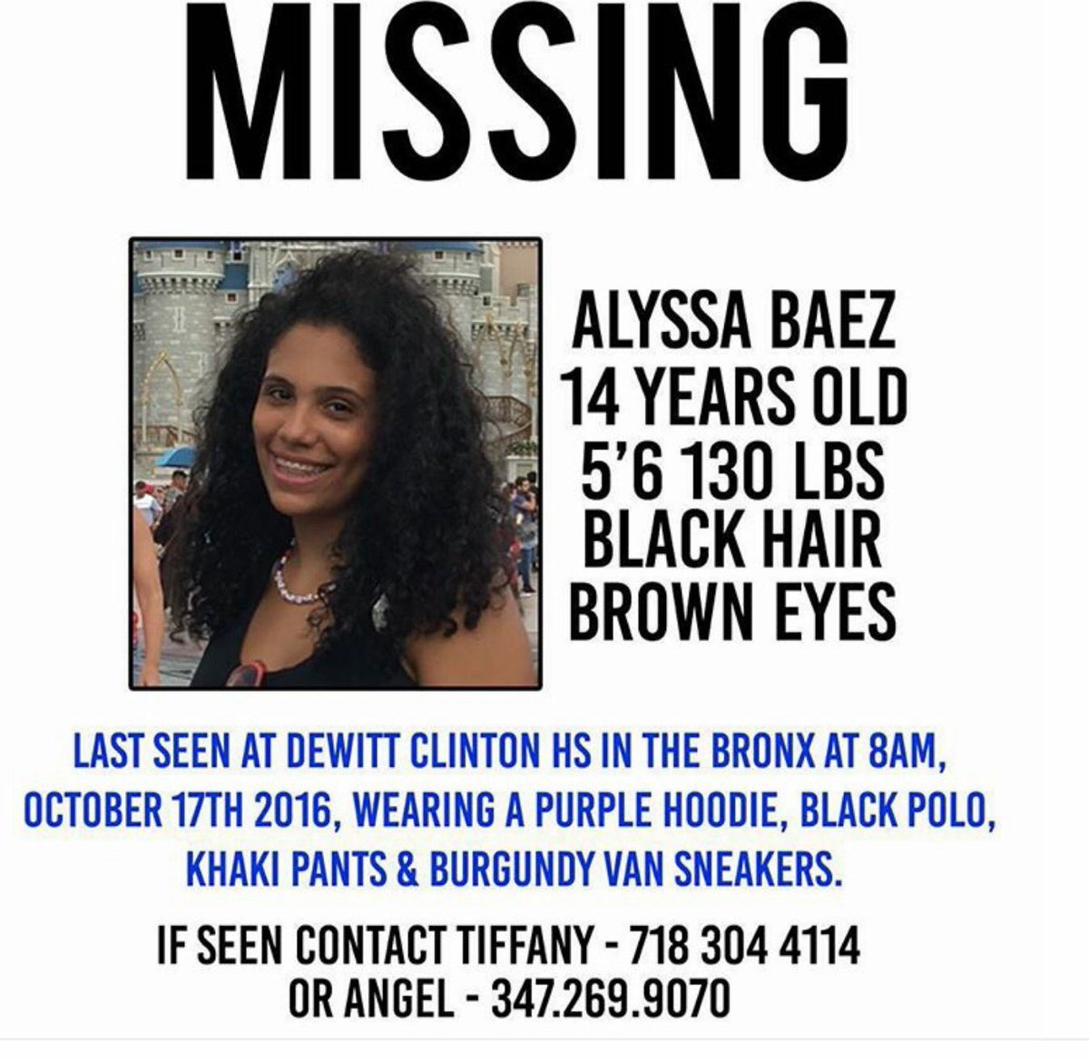Pls RT: Another Latina teen went missing in the Bronx. This story deserves attention. https://t.co/TtWtITFqXT https://t.co/HU2LoJxRHo