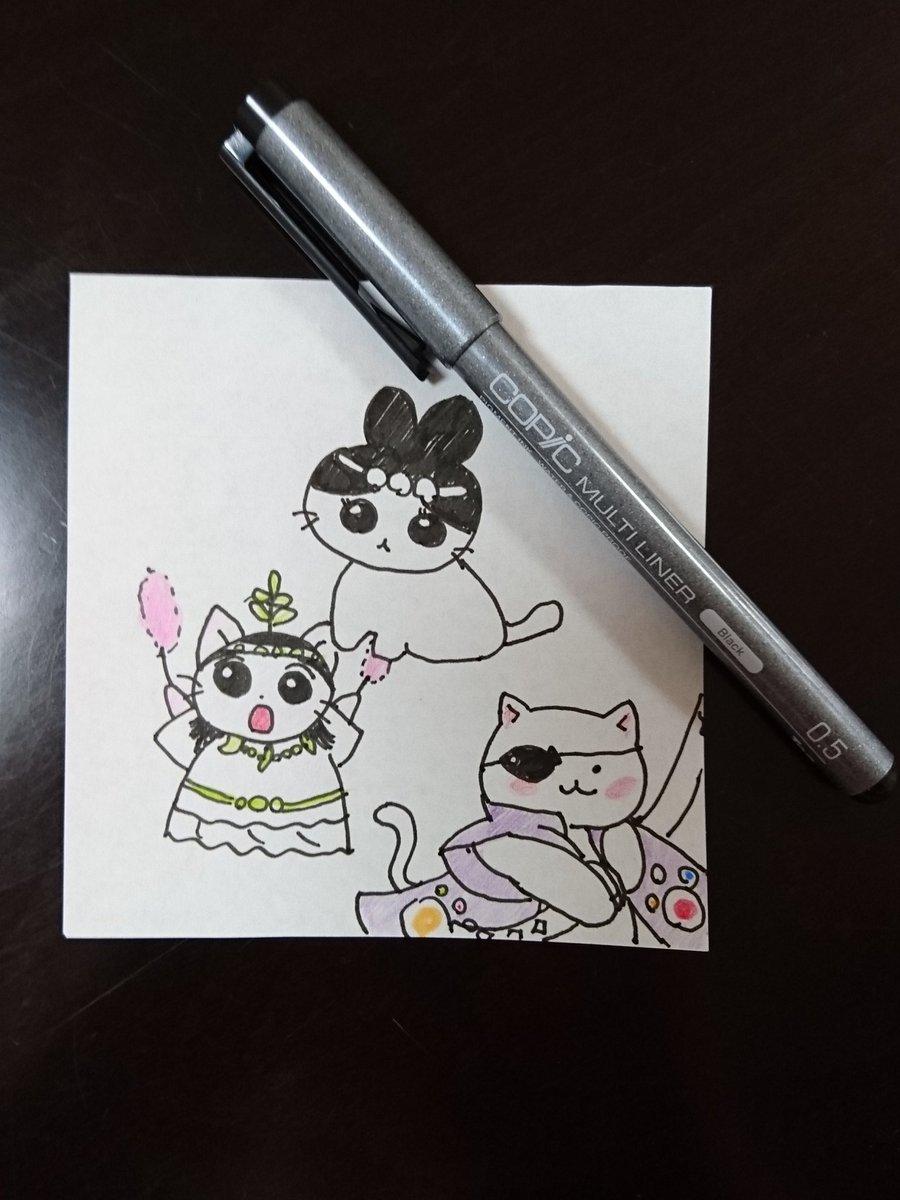 風邪で辛そうな娘の為に、描いてみました「ねこねこ日本史」キャラ。ぬりえはしても、イラストは長年描いてないから自信無かった