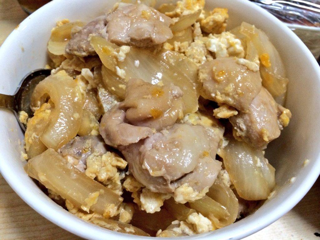 甘々と稲妻レシピで親子丼作ったら美味しいのができた〜