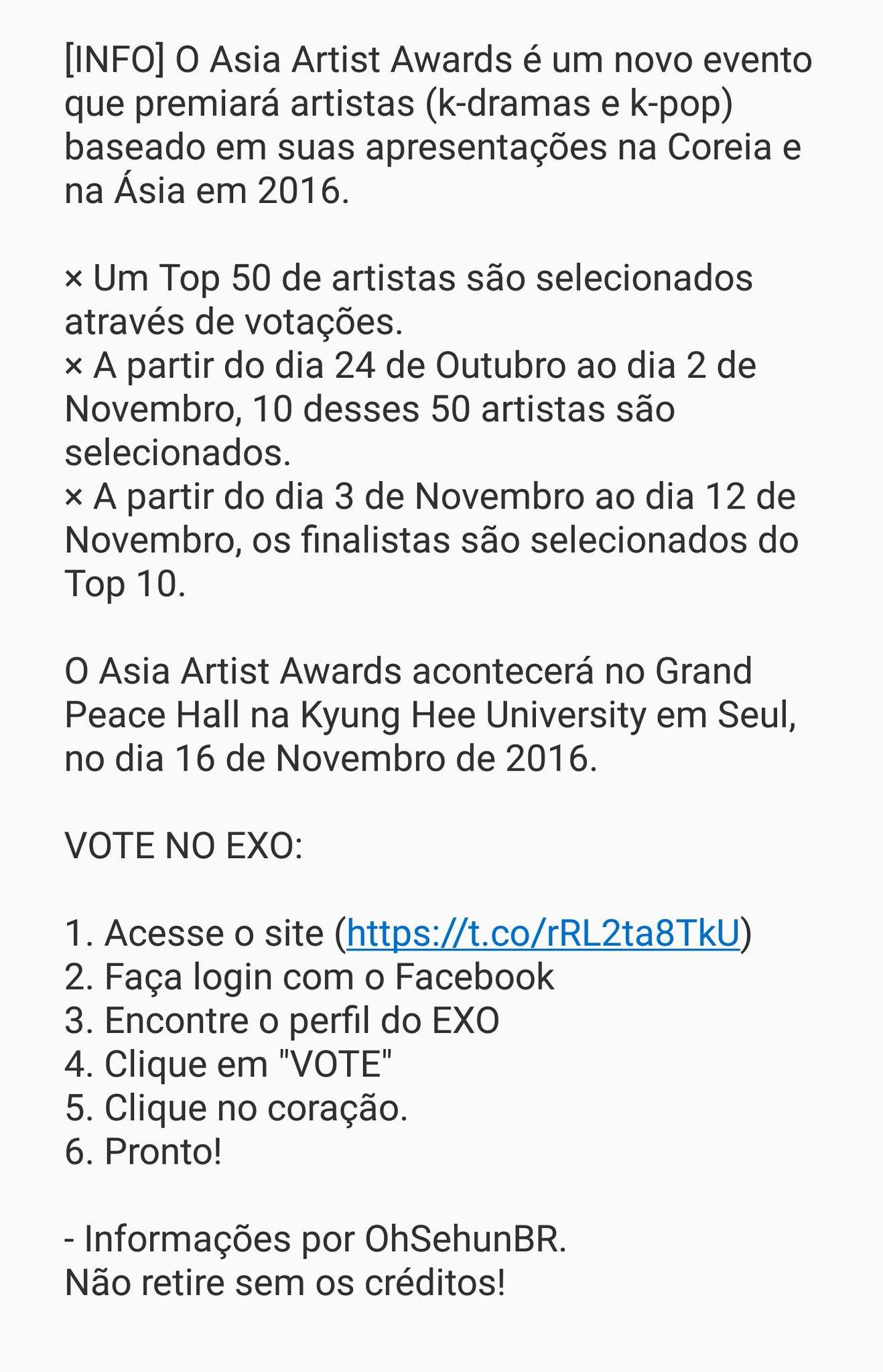 [#INFO] Vote no EXO para o Asia Artist Awards.  × https://t.co/87d5O7rjLQ https://t.co/rMDztwePlM
