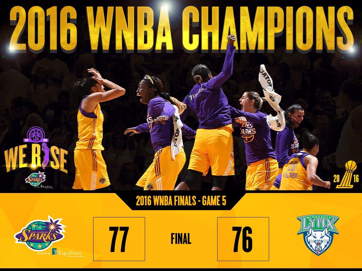 Sparks WIN!!! 2016 @WNBA Champions!!! #WeRise #ComeWatchUsWork #GoSparks https://t.co/npORdrxQx7