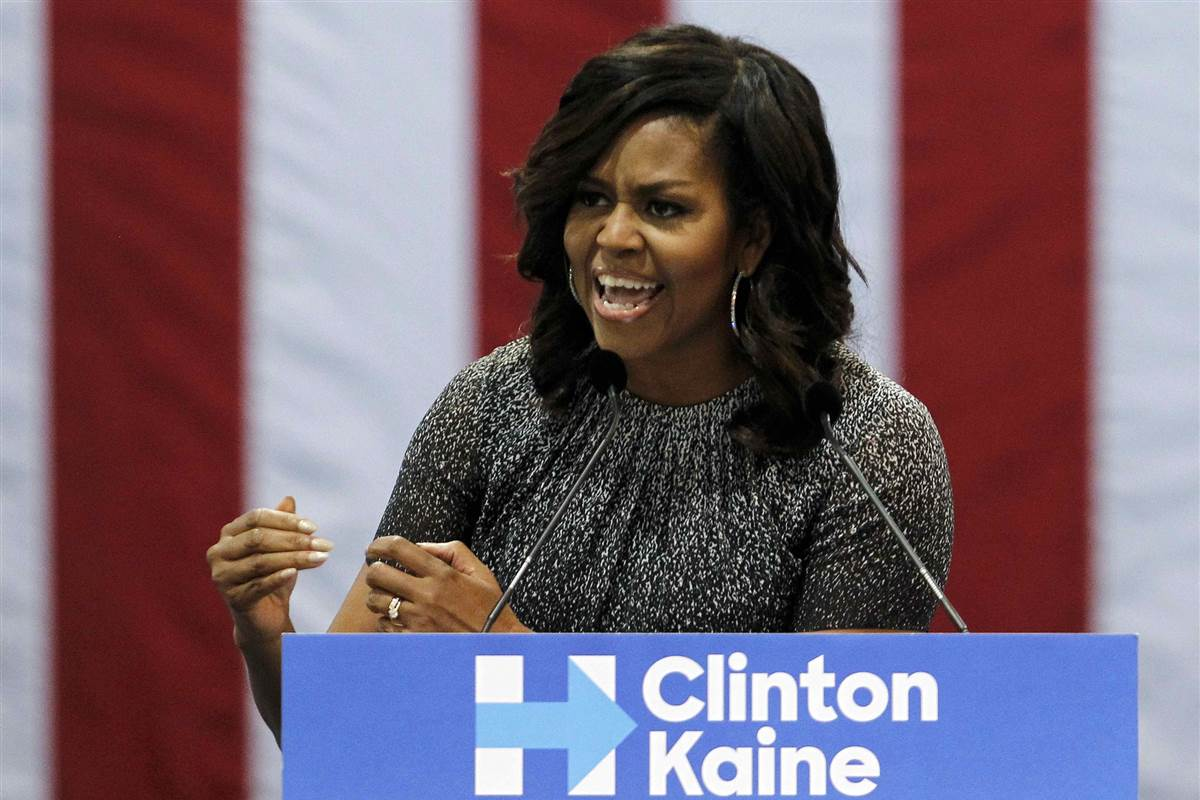 """First Lady Michelle Obama says Trump is """"trying to take away your hope"""""""