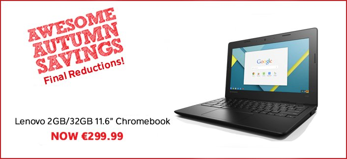We've slashed prices to our #AwesomeAutumnSavings inc. this Lenovo Chromebook now €199.99! https://t.co/60Q00w2E5j https://t.co/3V5x57BmVR