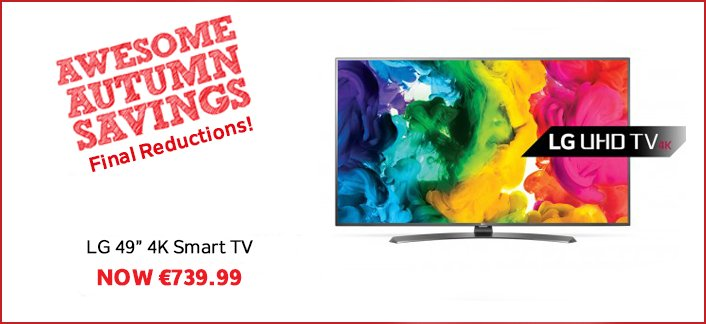 "We've FINAL reductions across all departments inc. this LG 49"" 4K Smart TV now €739.99! https://t.co/6c1BFIR9MT https://t.co/HELk9DvXdS"