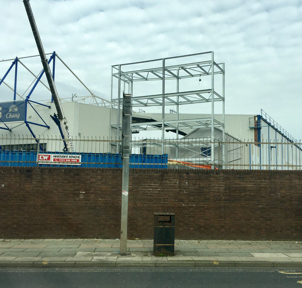 Everton's new stand is coming on a treat. Should be open when the tarpaulin arrives. https://t.co/de5lBLp82Q