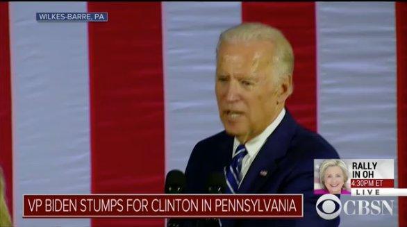 "WATCH: ""Folks, dignity matters,"" VP Joe Biden stumps for Hillary Clinton in Pennsylvania."