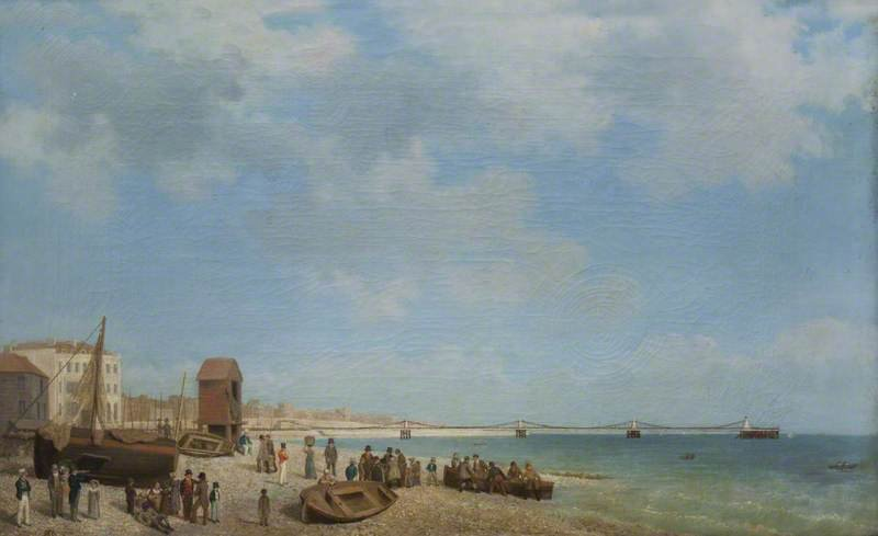 Brighton Beach with Chain Pier by British (English) School c. 1823-96 (@FelbriggHallNT). https://t.co/X5EXsQBhUQ