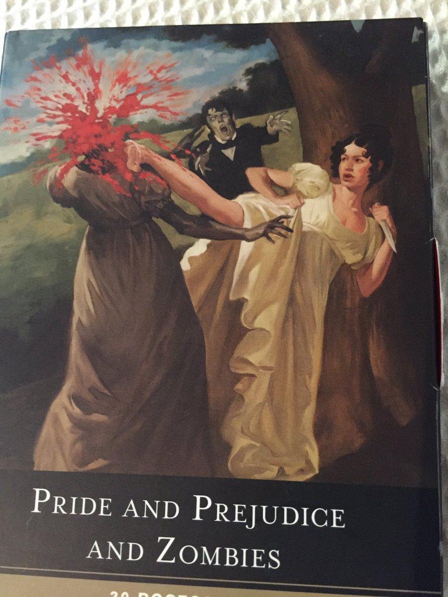 たまたま『高慢と偏見とゾンビ』の原作本、Pride and Prejudice and Zombies のポストカードブックを持っているんですが、だいたい映画もこんな感じです。 https://t.co/vxVDTqb04C