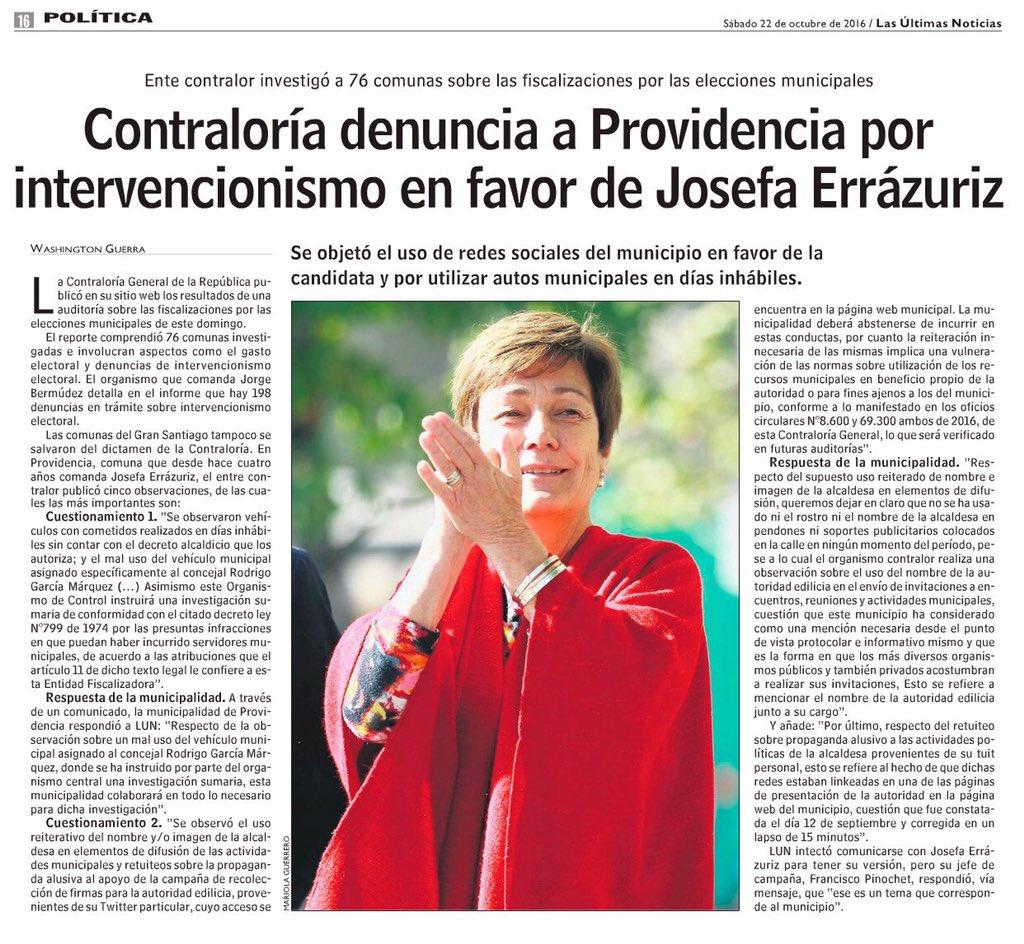Contraloría denuncia a Providencia x intervencionismo en favor de Josefa Errazurriz. Qué tal? Cc @EvelynAlcaldesa https://t.co/G8cVuwoCaI