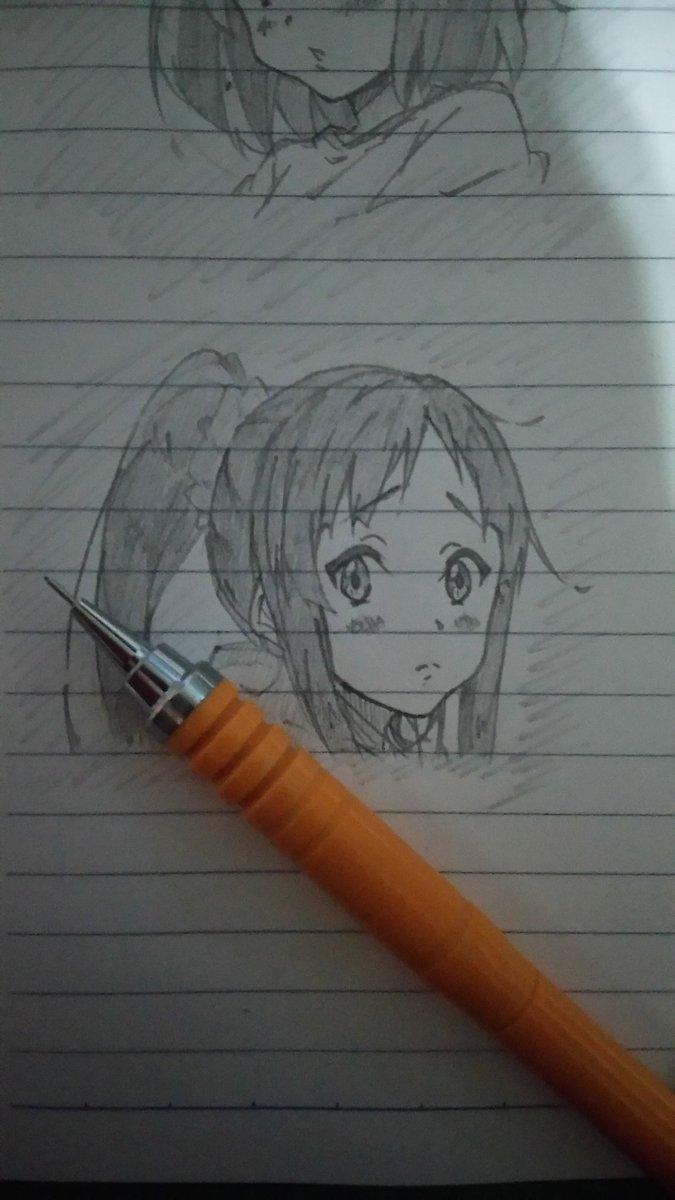 落描き~澪ちゃんヾ(*´∀`)✨✨「ポニーテール流行ってるの??」#k_on