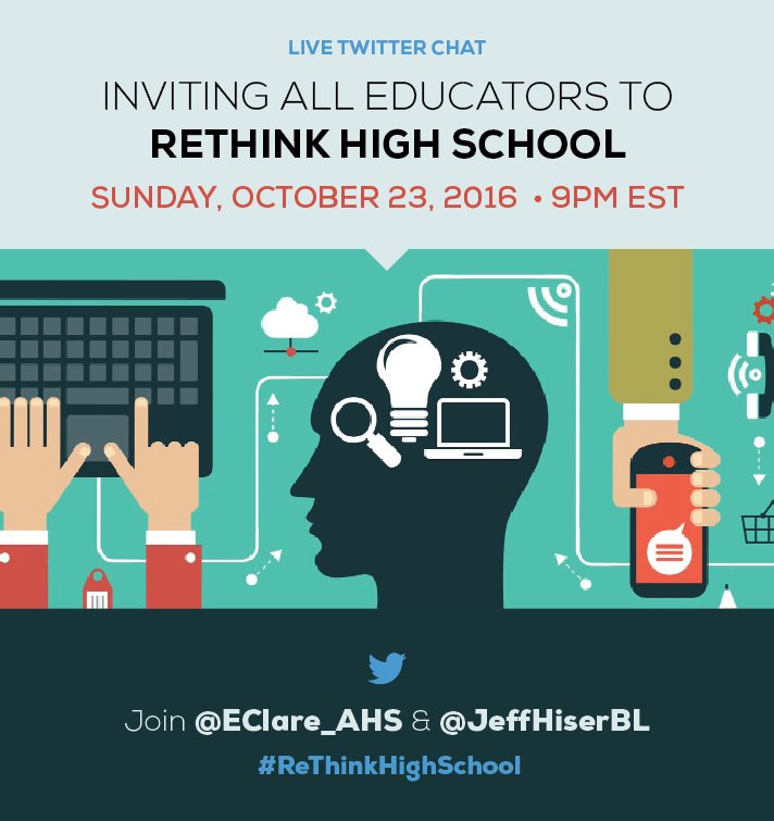 Join a dynamic group of educators for the #ReThinkHighSchool chat on 10/23 at 9/8 CT!  #edchat #satchat #sunchat #edumatch #apchat #stuvoice https://t.co/7uIG1W1oh2