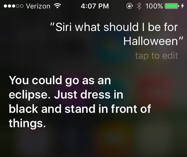Don't have a Halloween costume yet? Apple's Siri has you covereed