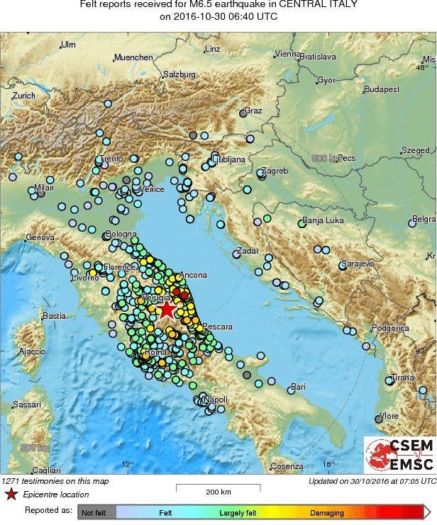 La mappa rende visibile quanto sia stata estesa la percezione di questo #Terremoto https://t.co/wATK4MQr2p