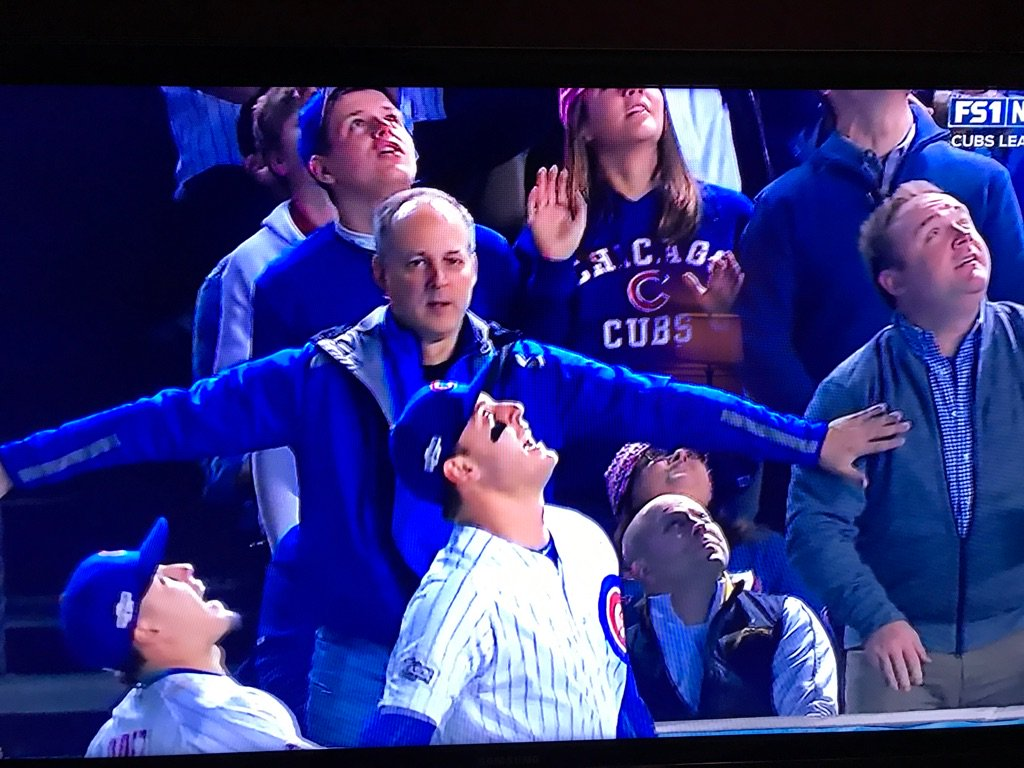 How about the dude in the front row constantly thinking about Bartman? Dude is NOT letting it happen. https://t.co/Oathr5rSiC