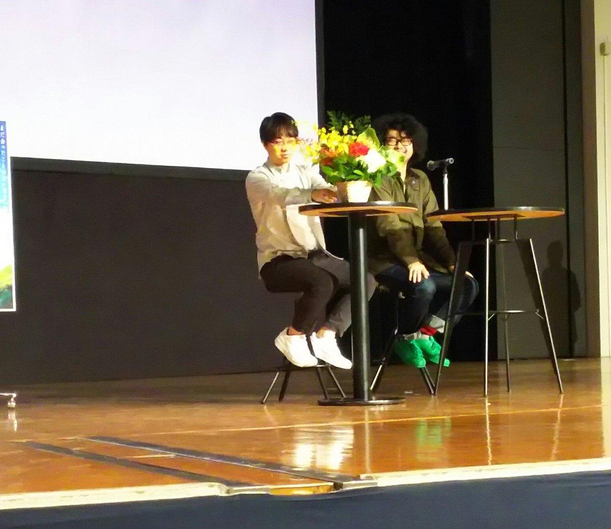 今日は中大のホームカミングデー❗特別企画として、新海誠監督のスペシャルトークショー&監督作品「言の葉の庭」上映会が開催さ