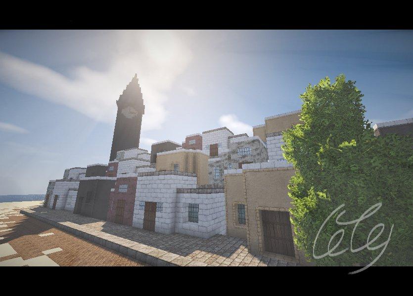@0olemon: 【時計】ほんとはね魔女宅の海の見える町が作りたかったの…#マイクラ建築60分一本勝負