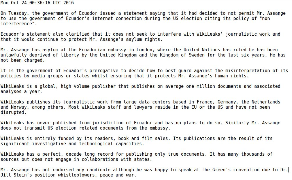 WikiLeaks Editorial Board statement on the status of Julian Assange, Ecuador and the US election