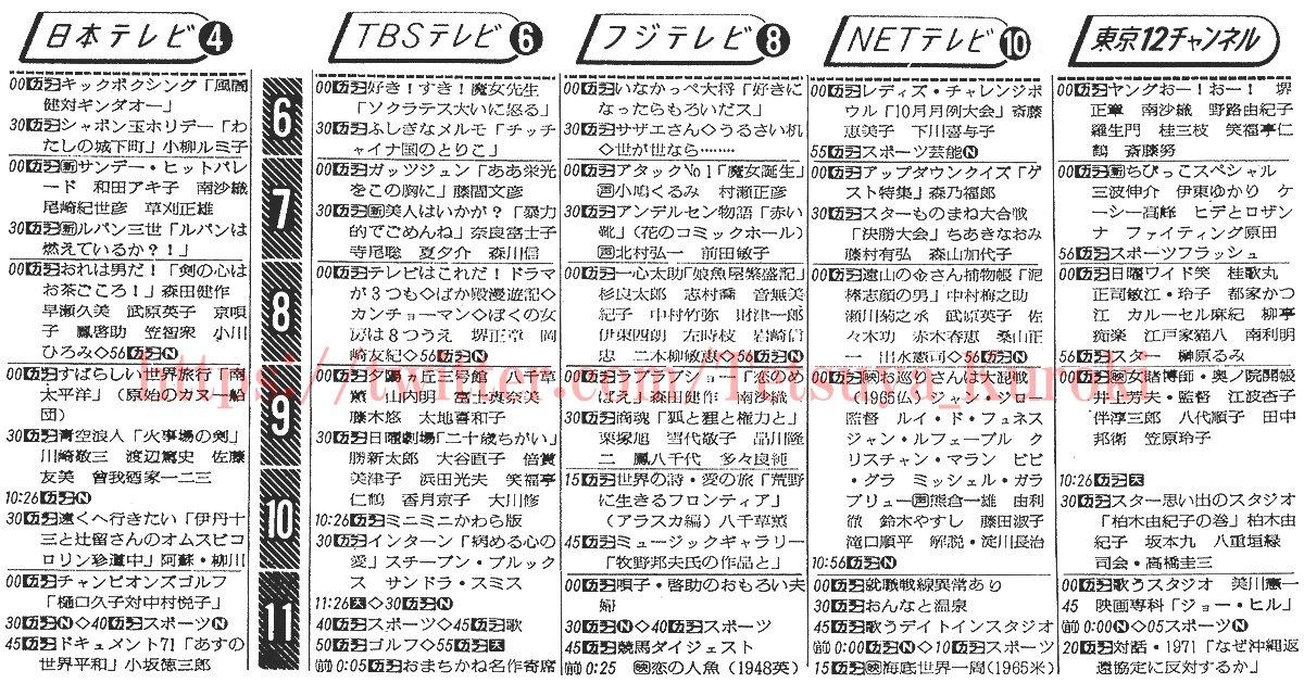#今日は何の日1971年10月24日(日)の毎日新聞朝刊に載った、関東広域圏のテレビ欄(18時以降)より。45年前の日本