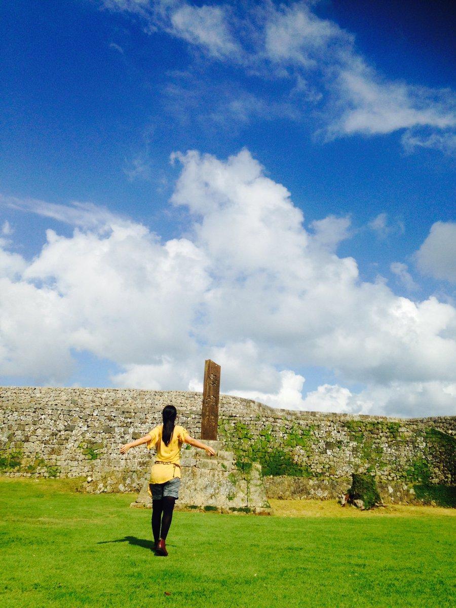 中城城跡!天気よかったー!正殿入る前に、ピンポン。祭りの片付けお疲れさまですっ!