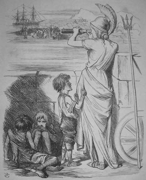 ディケンズは貴婦人たちがアフリカの子供の救済にうつつをぬかし、足元で苦しむ少年少女を蹴り飛ばすのをTelescopic