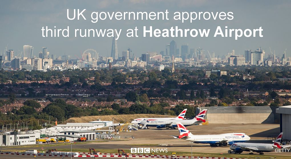 BBC Breaking News @BBCBreaking: UK government approves decision for third runway at #Heathrow Airport https://t.co/HbuCQLFcnt https://t.co/dQ7H8jFVPF