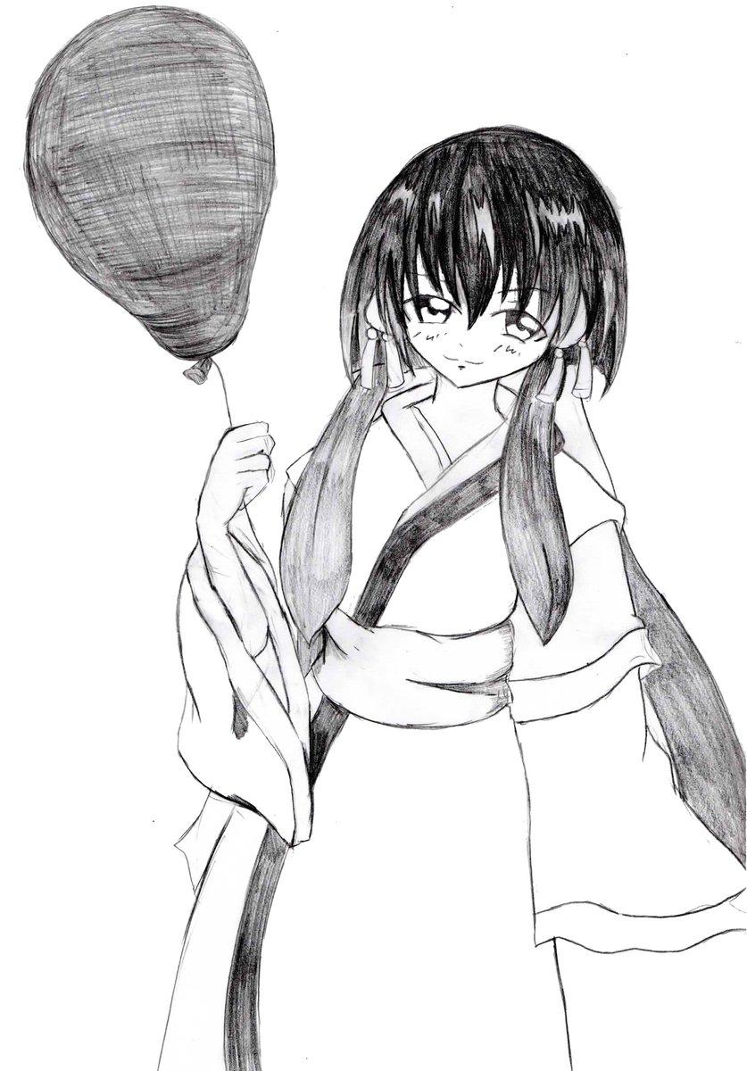 何となく描いてみた、天地無用!より、「柾木阿重霞樹雷」二枚目は落書き。メカクレ娘が風船加えてるだけ