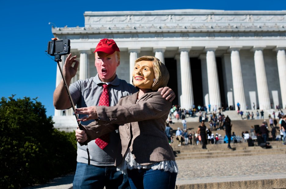 People are hate-buying Donald Trump and Hillary Clinton masks for Halloween. Scary,
