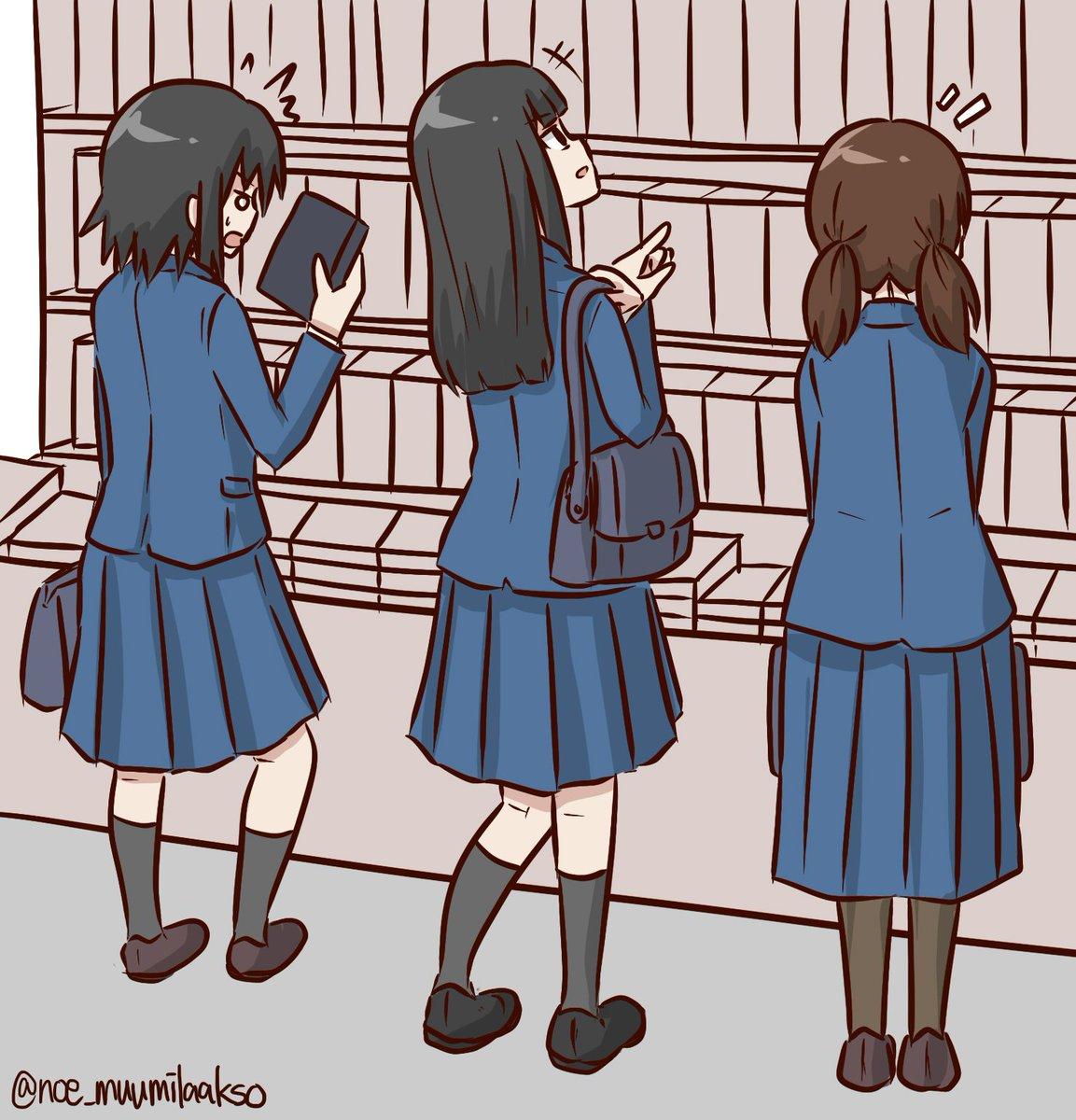 学校帰りにみんなで書店に行ってたりしたらいいな~。#ド嬢版深夜のお絵描き60分一本勝負 #ド嬢