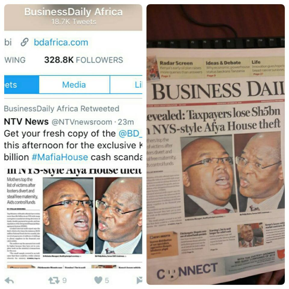 NMG publishes Special @BD_Africa edition after unknown people bought all copies from vendors #MafiaHouse Ksh 5B scam https://t.co/uNpZfb9BWY