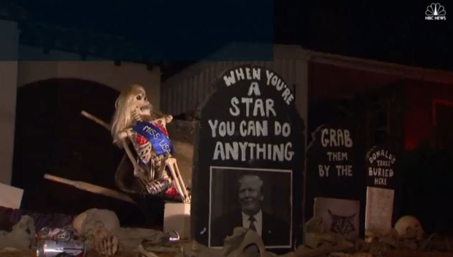 Homeowner says scariest Halloween decoration she could think of was Trump as president