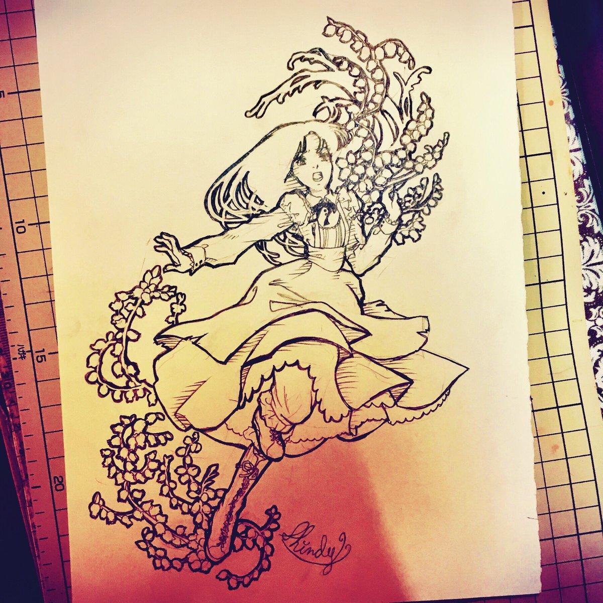 【お絵かき】#ガラスの仮面 #北島マヤ『嵐が丘』より キャサリン[ヒース/花言葉:孤独・博愛・裏切り・私らしく]#鉛筆画
