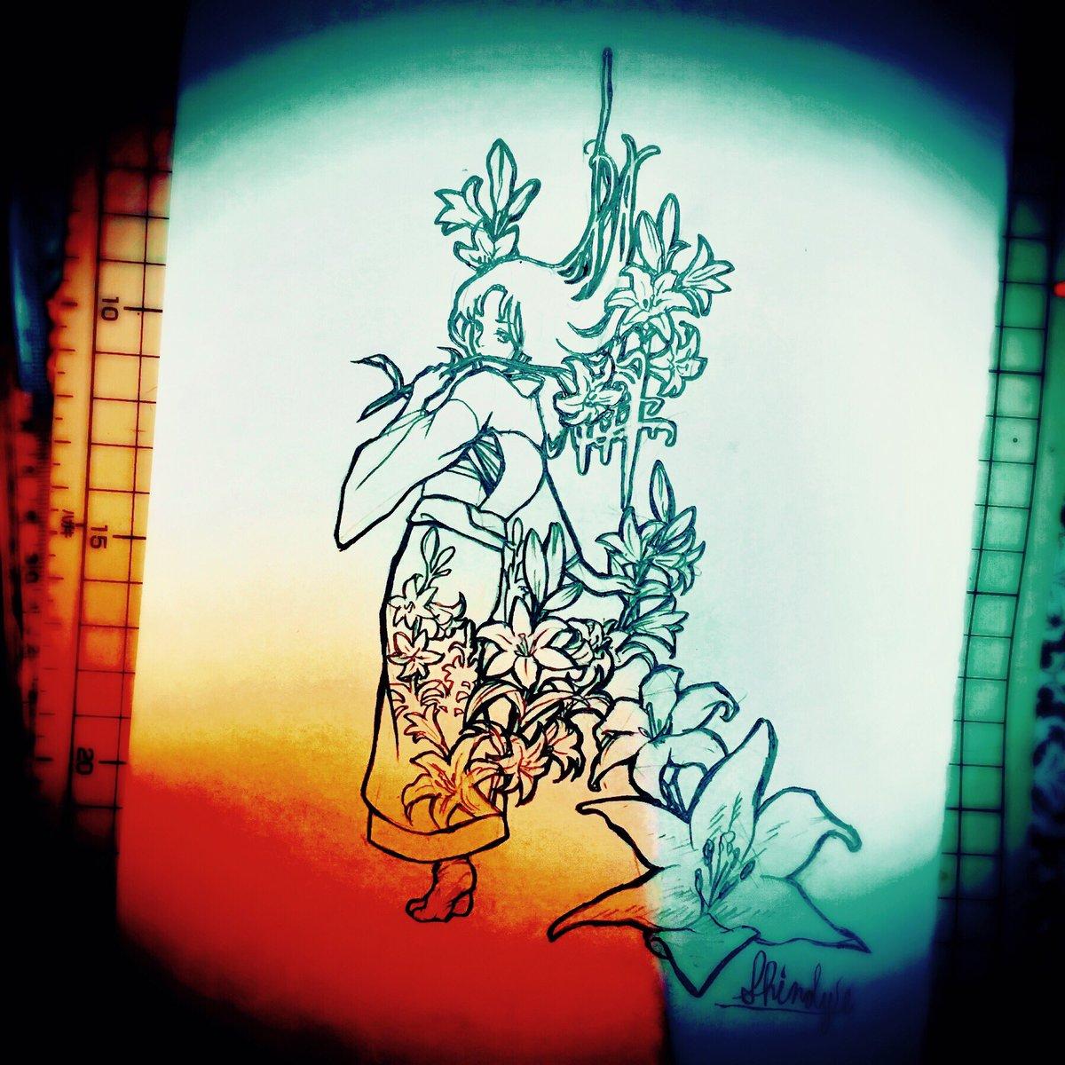 【お絵かき】#ガラスの仮面 #北島マヤ『夢宴桜』より 海堂寺千絵[ササユリ/花言葉:純潔・清浄]#鉛筆画 #イラスト