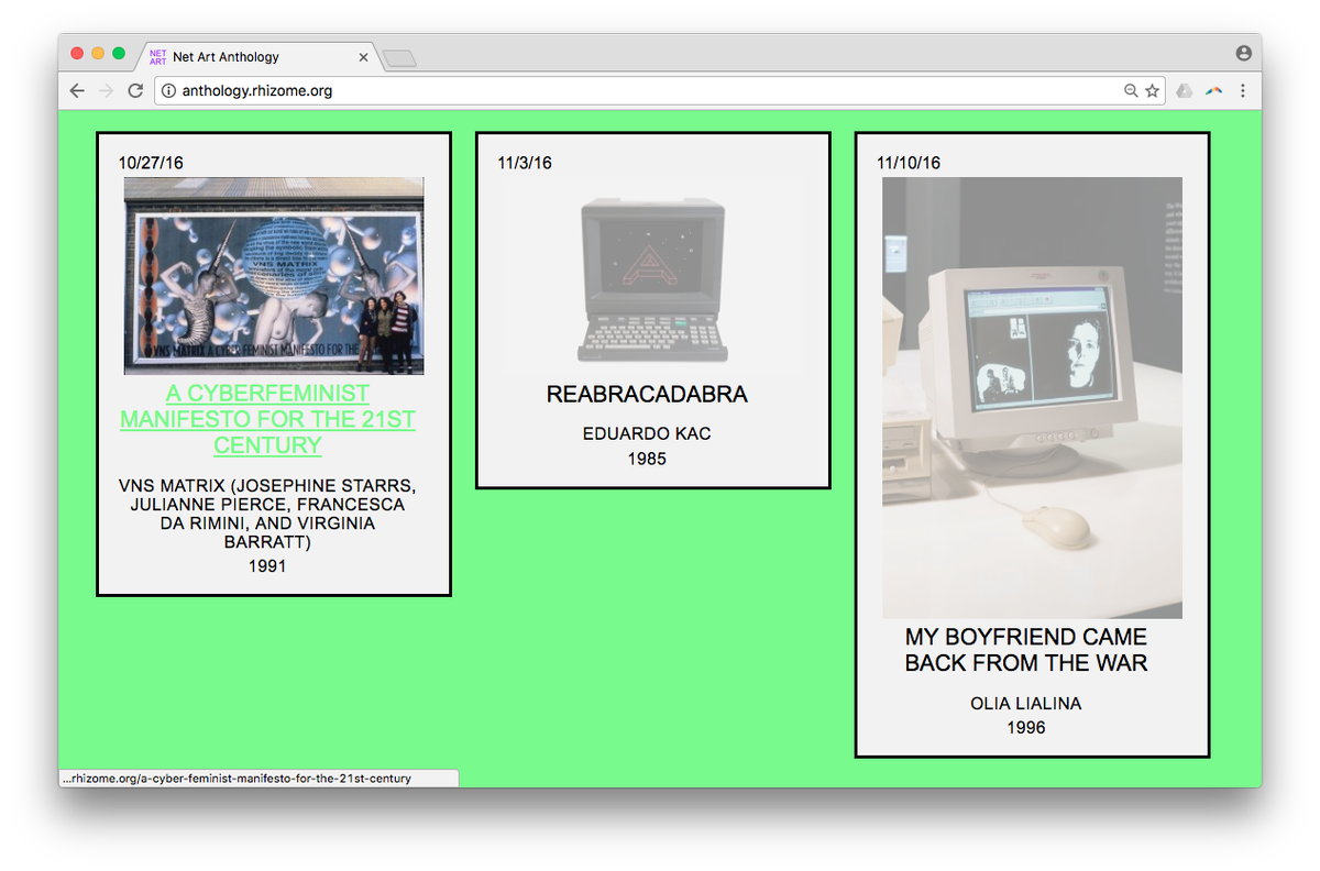 It's here! Our new online exhibition Net Art Anthology has launched: https://t.co/50KWQ8KSbU https://t.co/V8fY3v18WI